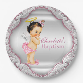Girls Silver and Pink Angel Baptism 9 Inch Paper Plate