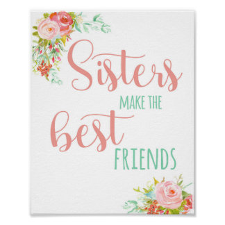 Girls Sisters Baby Room Poster Art Print