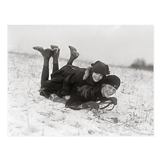 Girls Sledding, 1915 Postcard