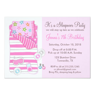 Girls Sleepover Pajama Slumber Party Invitation