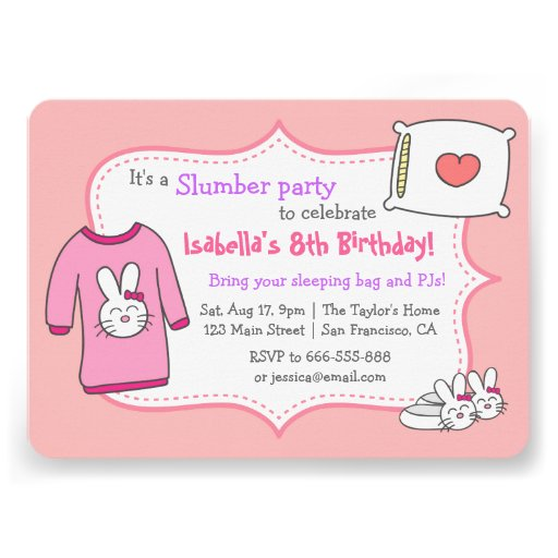 Girls slumber party invitations