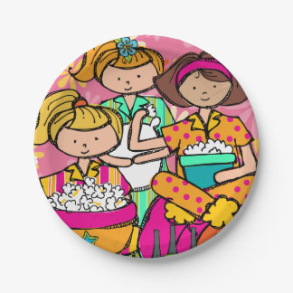 Girls Slumber Party Birthday Paper Plate 7 Inch Paper Plate