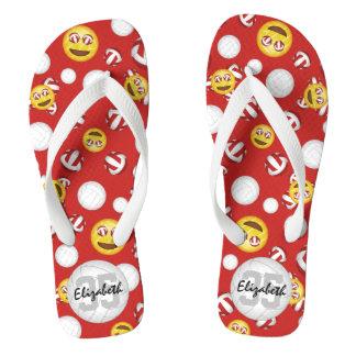girls' smiley face emoji volleyball thongs