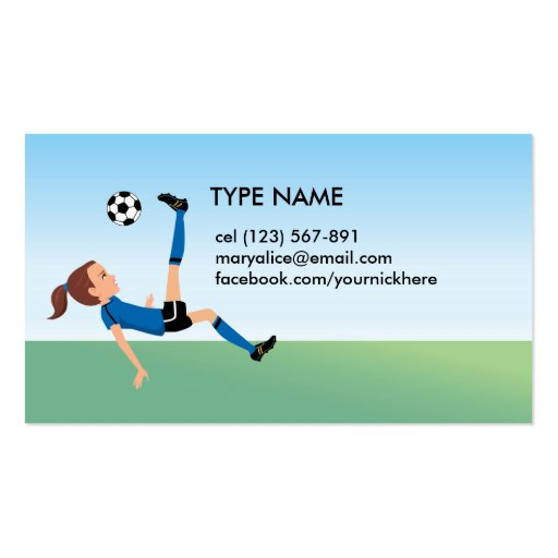Girl's Soccer Calling Card Business Cards