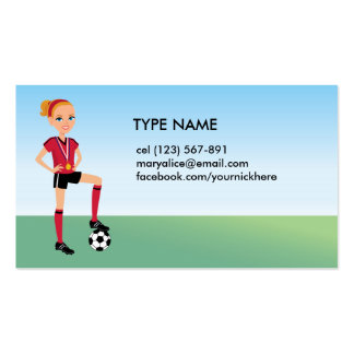Girl's Soccer Calling Card Pack Of Standard Business Cards