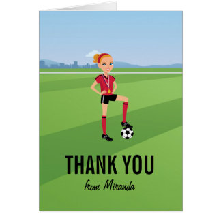 Girl's Soccer Game Thank You Card