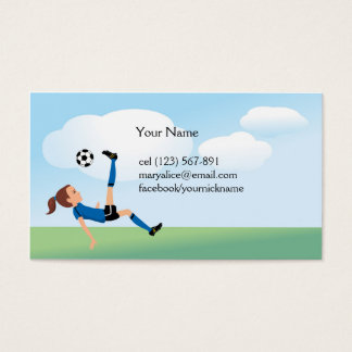 Girl's Soccer Kick Calling Card