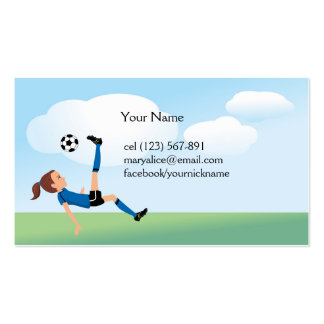 Girl's Soccer Kick Calling Card Business Card Templates