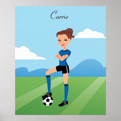 Girl's Soccer Player Illustration Poster