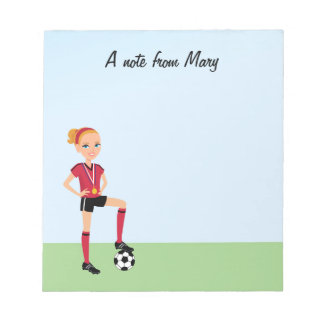 Girl's Soccer Player Notepad Personalized