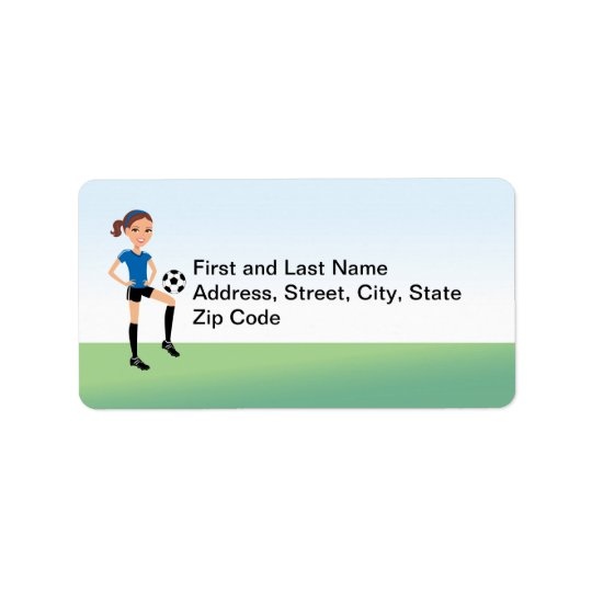 Girl's Soccer Player Personalised Label