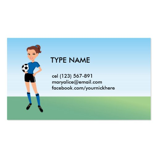 Girl's Soccer Player Personalized Business Card Template