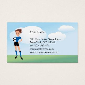 Girl's Soccer Player Personalized Business Card