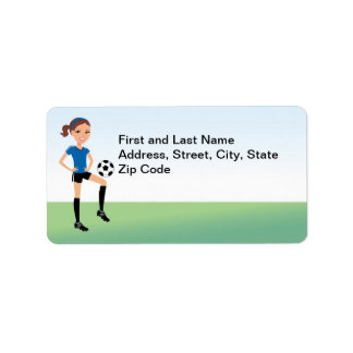Girl's Soccer Player Personalized Address Label