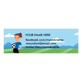 Girl's Soccer Player Personalized Pack Of Skinny Business Cards