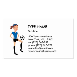 Girl's Soccer Player Personalized Pack Of Standard Business Cards