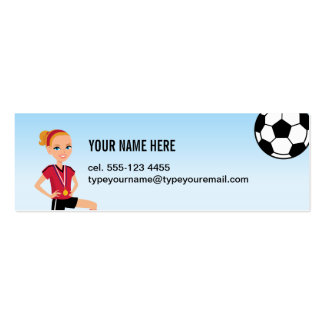 Girl's Soccer Skinny Calling Card Business Card Template