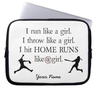 Girls Softball Laptop Sleeve