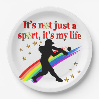 GIRLS SOFTBALL RED RAINBOW INSPIRATIONAL DESIGN PAPER PLATE