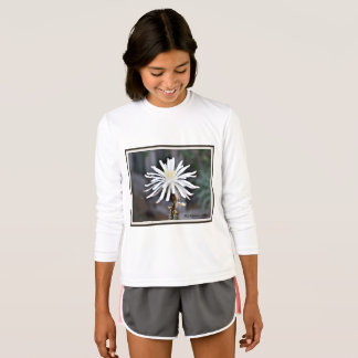 "Girl's Sport Tee Long Sleeve ""White Cactus Bloom"""