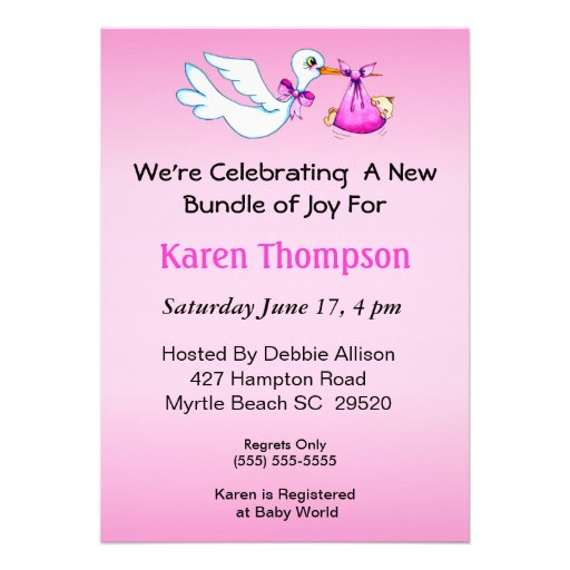 Girls Stork   Baby Shower  Invitation