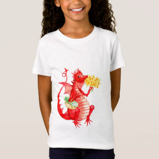 Girls' stylish cotton 'Red Dragon' T-shirt