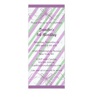 Girl's stylish purple stripes birthday invitation