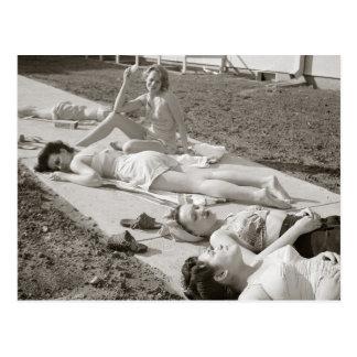 Girls Sunbathing, 1943 Postcard