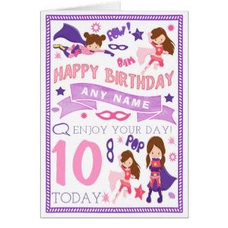 Girls Superhero Personalised Birthday Card