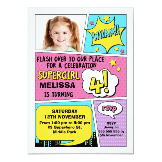 Girls Superhero Photo 4th Birthday Invitation