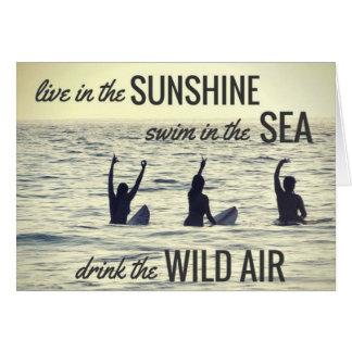 Girls Surfing Surf Beach Drink the Wild Air Quote Card