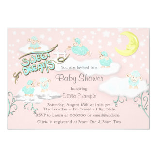 Girls Sweet Dreams Baby Shower Card