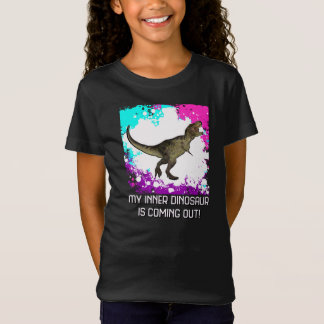Girls T-Rex Multi-Colored Splatter With Text Shirt