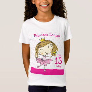 GIRLS T-SHIRT Age 13 princess 13th Birthday