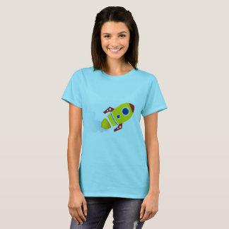 Girls t-shirt blue with Gold Rocket