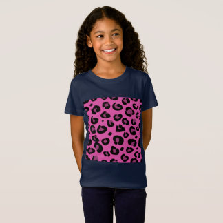 Girls t-shirt blue with Leopard dots