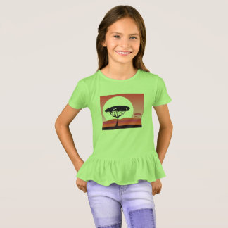 Girls t-shirt green with Africa forest