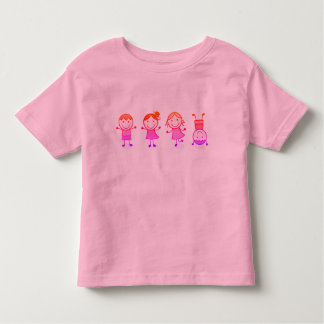 Girls t-shirt pink with Jumping kids