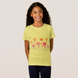 Girls t-shirt yellow with  flowers