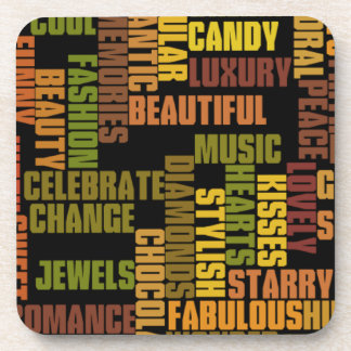 girls tags, girly words beverage coaster