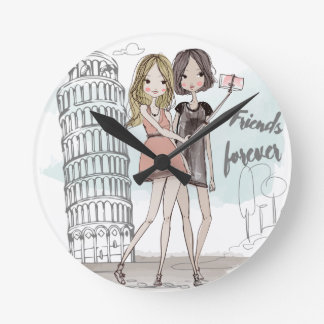 Girls taking selfie in Italy illustration clock