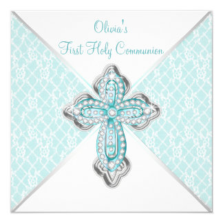 Girls Teal Blue First Holy Communion 13 Cm X 13 Cm Square Invitation Card