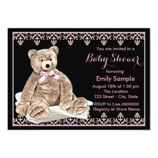 Girls Teddy Bear Baby Shower 13 Cm X 18 Cm Invitation Card