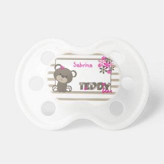 Girls Teddy Bear Flowers Personalized Pacifier