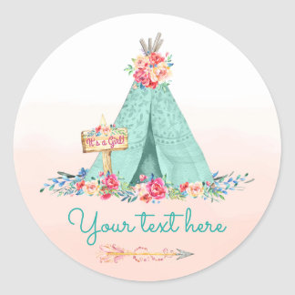 Girls TeePee Boho Tribal Favor Gift Thank You Classic Round Sticker