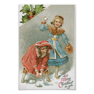 Girls Throwing Snowballs, Merry Christmas Poster