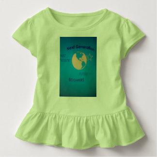 Girl's Toddler green Ruffler Tee