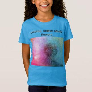 Girl's trendy blue cotton candy flower  tshirt