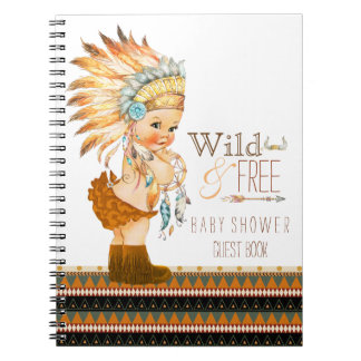 Girls Tribal Wild and Free Baby Shower Guest Book Spiral Notebooks