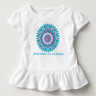 Girls turquoise dahlia print toddler T-Shirt